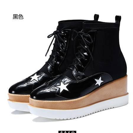 古奇天伦中筒靴女秋马丁靴平跟女靴子潮韩版平底单靴圆头