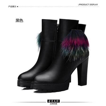 古奇天伦粗跟高跟时尚女鞋女靴子马丁靴厚底短筒短靴
