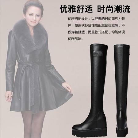 古奇天伦冬女鞋高跟长筒靴瘦腿弹力靴过膝长靴厚底女靴内增高靴子