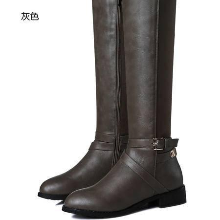 古奇天伦粗跟女式高筒靴骑士靴及膝靴子女靴中跟弹力靴