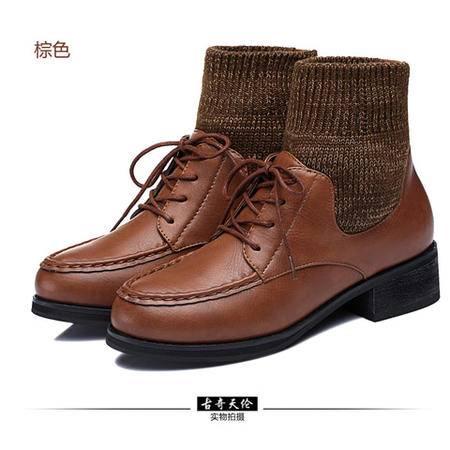 古奇天伦粗跟中跟复古防水台靴子短靴女靴系带针织保暖