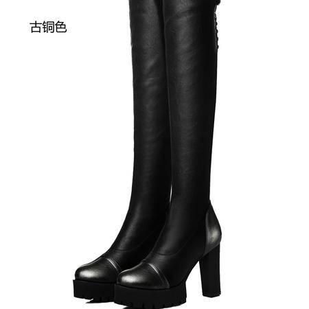 古奇天伦粗跟高跟长筒靴过膝女靴子厚底瘦腿女长靴