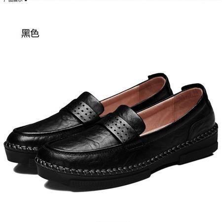 古奇天伦妈妈鞋真皮女鞋豆豆鞋女休闲鞋圆头套脚平跟单鞋