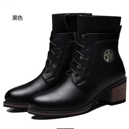 古奇天伦女靴中筒粗跟英伦风女鞋系带潮女短靴马丁靴女秋上新