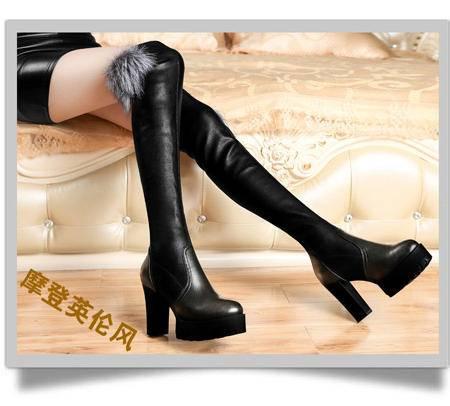 古奇天伦高跟女靴狐狸毛过膝靴女鞋厚底长靴子粗跟