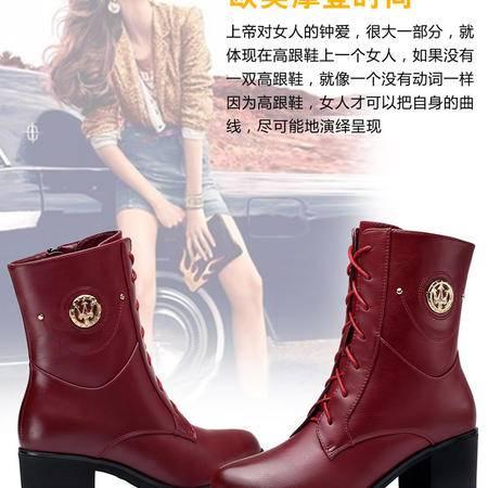 古奇天伦女靴中跟系带欧美潮女鞋子马丁靴潮粗跟短靴