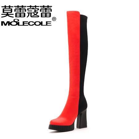 粗跟高跟防水台高筒靴女瘦腿弹力靴过膝长靴长筒显瘦