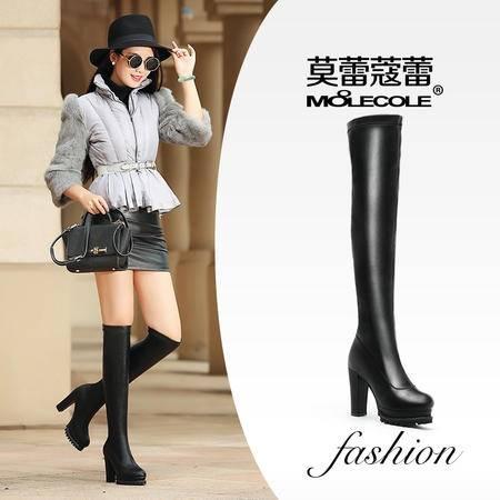 莫蕾蔻蕾 时装靴高跟长靴 时尚瘦腿弹力长筒靴女过膝