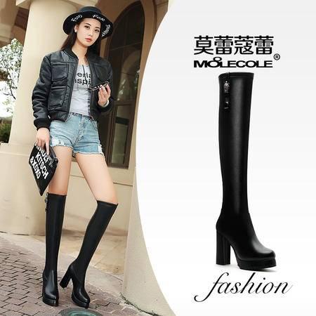 莫蕾蔻蕾长筒靴子性感百搭冬季女靴 粗跟高跟过膝长靴女防水台弹力