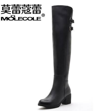 莫蕾蔻蕾粗跟高跟过膝长靴女黑色骑士靴子女靴