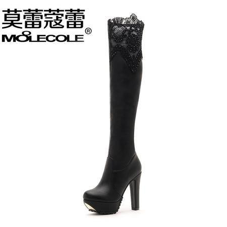 莫蕾蔻蕾厚底欧美风瘦腿蕾丝女靴粗跟高跟过膝长靴女