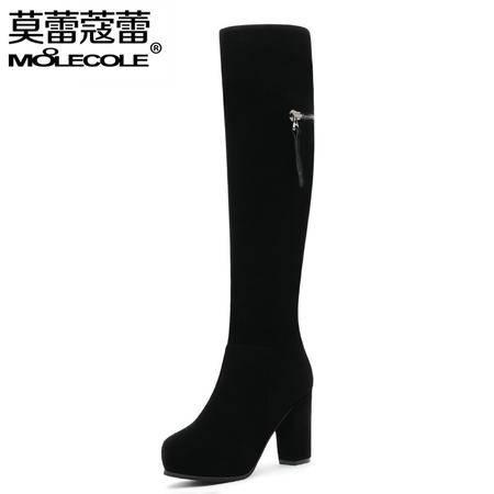 高跟圆头弹力靴冬季加绒保暖棉靴马丁靴潮粗跟高筒靴子女