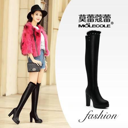莫蕾蔻蕾 弹力靴厚底欧美女靴粗跟高跟过膝长靴女瘦腿