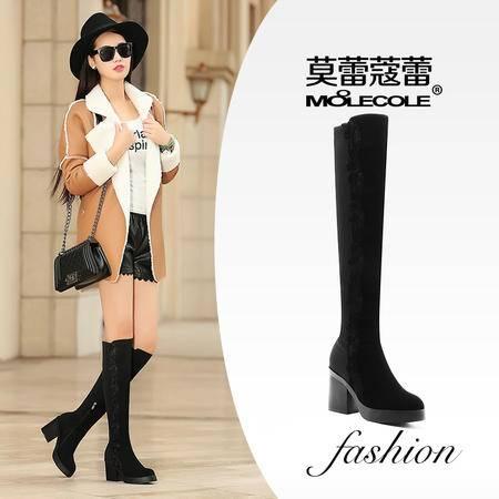 莫蕾蔻蕾 圆头女靴子潮粗跟过膝长靴瘦腿弹力靴女高跟