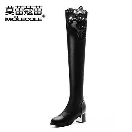莫蕾蔻蕾 蕾丝欧美长筒靴粗跟高跟过膝长靴女