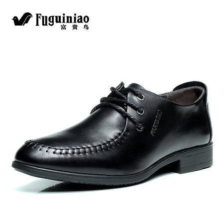 富贵鸟 头层牛皮鞋子正品真皮男鞋商务休闲鞋时尚皮鞋