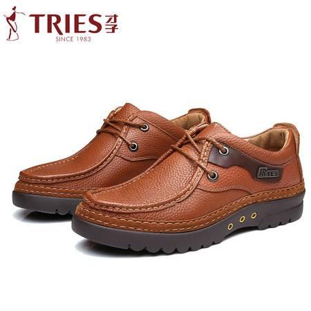 秋冬季男士系带休闲皮鞋真皮软底耐磨休闲鞋爸爸父亲鞋