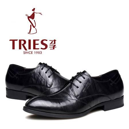 男鞋 秋冬季男士尖头英伦皮鞋男头层牛皮系带布洛克婚礼皮鞋