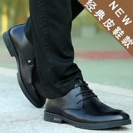 秋冬皮鞋男士真皮商务休闲男鞋高帮鞋圆头爸爸鞋加绒保暖皮鞋