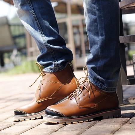 精品男鞋休闲鞋真皮靴子男靴短靴秋冬新款加绒保暖雪地靴