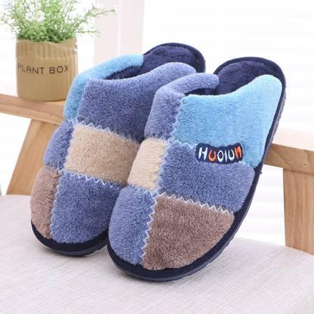 男女拼接棉拖鞋家居保暖室内防滑情侣保暖加厚棉拖鞋
