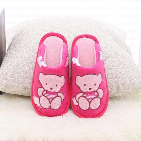 儿童卡通小熊拖鞋家居保暖室内拖防滑保暖半包跟棉拖鞋