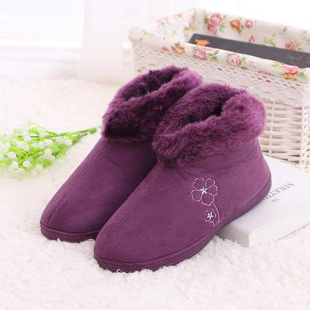 男女防水加厚冬季室内地板超柔绒保暖包跟毛口棉拖鞋