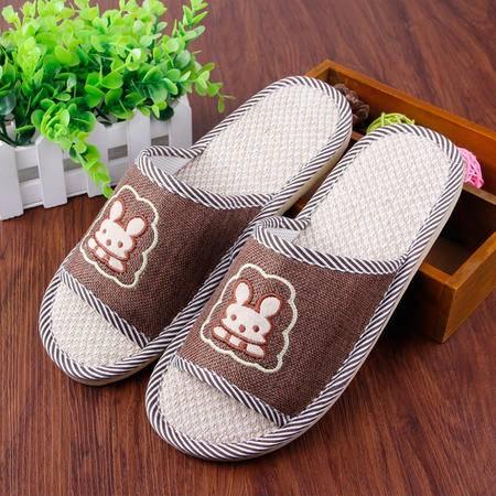 四季拖 男女亚麻拖鞋居家拖鞋可爱卡通小兔地板防滑拖鞋