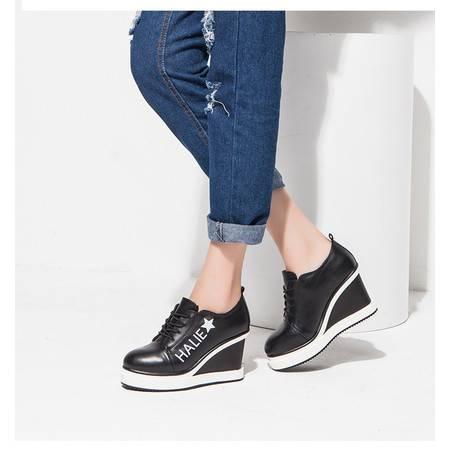时尚坡跟系带增高百搭休闲女鞋