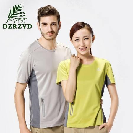 夏季 爆款户外情侣款短袖圆领排汗速干t恤男竹碳纤维