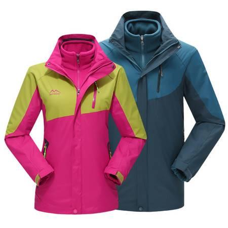 新款时尚韩版拼色亲子款旅行滑雪服外贸冲锋衣情侣户外服