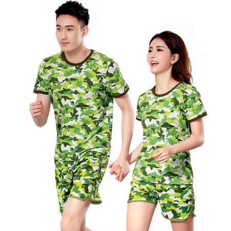 夏季情侣迷彩运动服套装 纯棉短袖休闲运动套装男