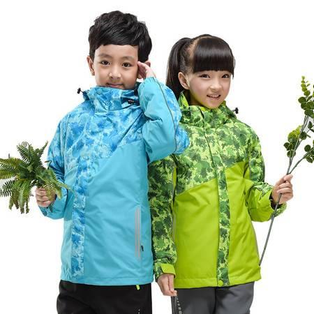 新款时尚印花儿童冲锋衣三合一 男女t童款保暖户外服两件套