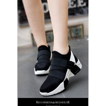 厚底松糕鞋魔术贴女式帆布鞋潮女秋运动休闲鞋单鞋子