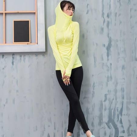 运动卫衣女士健身跑步瑜伽服透气连帽衫