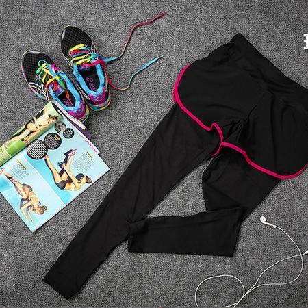 假两件运动跑步紧身裤 健身瑜伽服修身显瘦九分裤