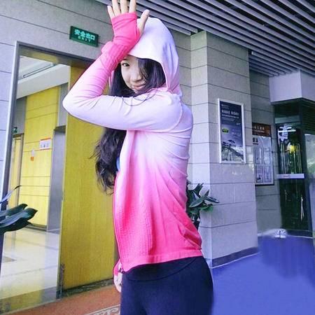 渐变女士运动帽衫健身衣瑜伽服吸湿排汗速干运动拉链外套长袖