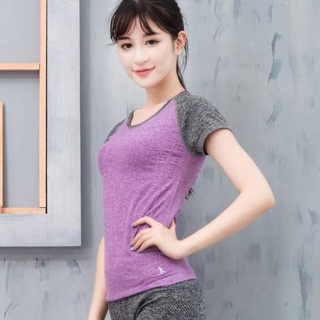 速干排汗健身撞色拼接短袖T恤女户外跑步瑜伽服