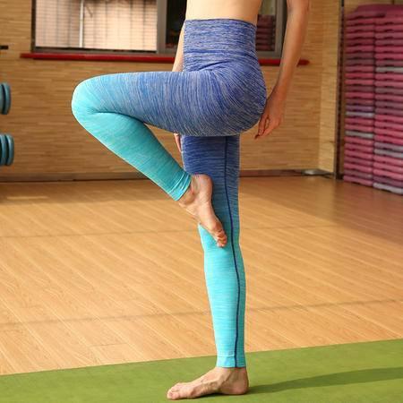 段染瑜伽健身运动九分裤 超高弹力运动跑步裤