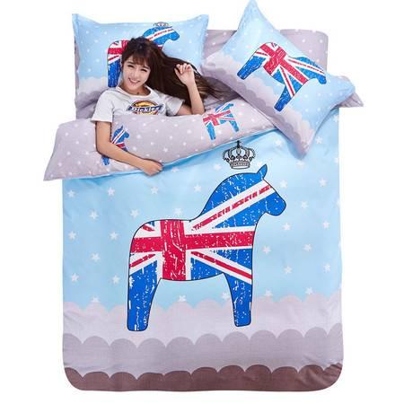 床上用品被枕套新品 时尚大版活性印花乐肤棉四件套
