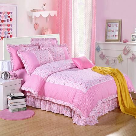 床上用品被枕套新品 韩版花边澳绒拼角四件套