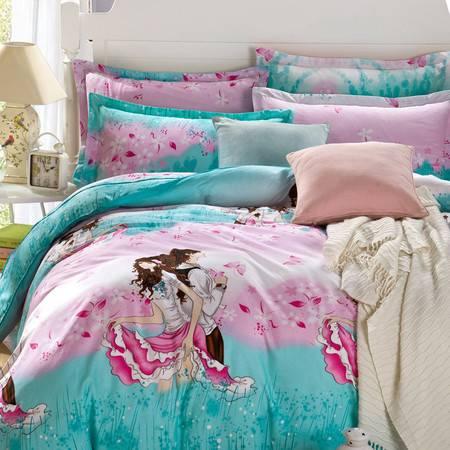 床上用品被枕套新款卡通风 田园风 英伦风 12868纯棉四件套