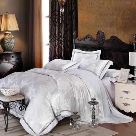 床上用品被枕套新品 莫代尔德菲丝镂空提花四件套