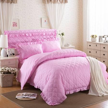 床上用品被枕套13372韩版纯色加棉床笠 床头罩5件套