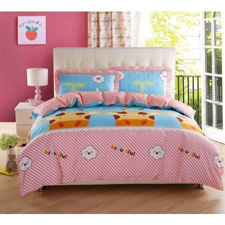 床上用品被枕套全棉夹棉绗缝床笠配四件套1