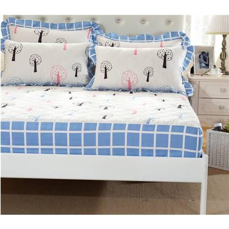 床上用品被枕套全棉夹棉绗缝床笠配四件套3