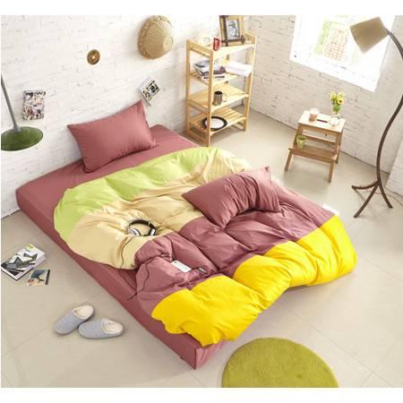 床上用品被枕套棉13372 四拼色撞色四件套