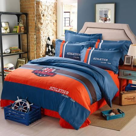床上用品被枕套纯棉60s 学院风四件套系列