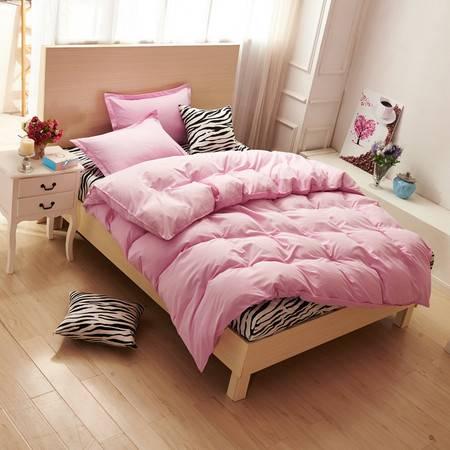 床上用品芦荟棉斑马纹拼色四件套