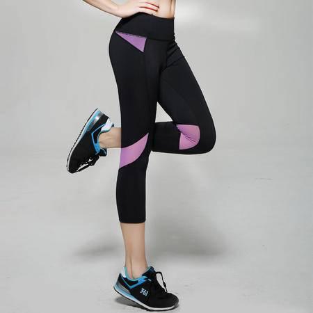 新款韩版七分修身显瘦提臀休闲瑜伽健身运动跑步跳操裤